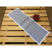 Begüldan Keten Runner - Beyaz Koton Dantel - 40x145 cm