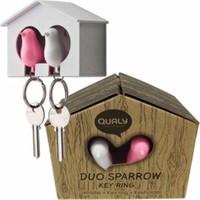 BuldumBuldum Sparrow Keyring Duo - İki Minik Serçe Anahtarlık, Anahtar Yuvası, Düdük - Beyaz-Siyah