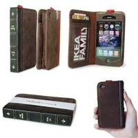 BuldumBuldum İbook - Cüzdanlı İphone Kılıfı - İphone 4/4S Kahverengi Gövde/Kırmızı Sırt