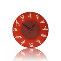 BuldumBuldum Carla Mara Kama Sutra Cam Duvar Saati - Kırmızı