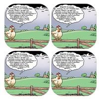BuldumBuldum Selçuk Erdem 'Tavuk Olmak' 4'Lü Bardak Altlığı Seti