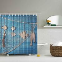 Orange Venue 3D Baskılı Duş Perdesi Mavi Balık