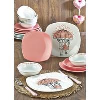 Keramika Pink Love Keramira Köşem 24 Parça Pembe Yemek Takımı