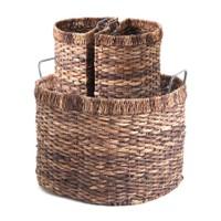 Kanca Ev Hasır Oval Sepet İçinde 2 Yarım Oval Sepet Seti Koyu Kahve