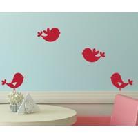 Dekorjinal Kırmızı Kuşlar Duvar Sticker CST048