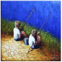 Arte Balık Tutan Çocuklar Kanvas Tablo