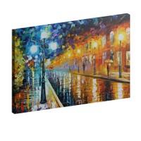 Albitablo Yağmur ve İnsanlar 70x50 cm Yatay Kanvas Tablo