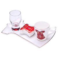 Biev Kaftan Tek Kişilik Kahve Servis Seti Kırmızı