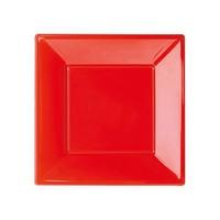 Plastik Küçük Kare Tabak 8'li - Kırmızı