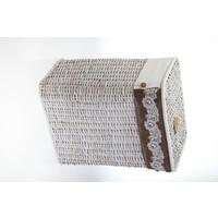 Kancaev Hasır, Eskitilmiş Beyaz Dikey Çamaşır Sepeti, Dantelli, Orta