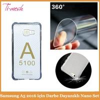 Samsung A5 2016 için Darbe Dayanıklı Silikon Kılıf + Nano Glass Ekran koruyucu