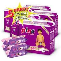 Pine Bebek Bezi 5'li Paket 5+ Beden 170 Adet + Islak Mendil 360 Adet