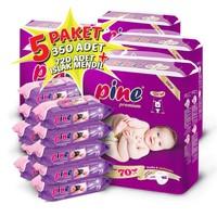 Pine Bebek Bezi 5'li Paket 2 Beden 350 Adet + Islak Mendil 720 Adet