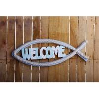 Gold Case Marin Duvar Süsü Balık Welcome Er-312