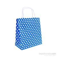 Kullanatmarket Mavi Puantiyeli Küçük Kraft Çanta 25 Adet