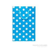 Kullanatmarket Mavi Puantiyeli Mini Karton Çanta 25 Adet