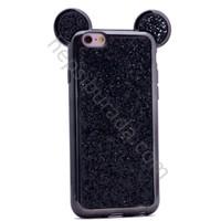 Case 4U Apple iPhone SE Mickey Kulaklı Simli ve Taşlı Silikon Kılıf Siyah