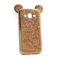 Case 4U Samsung Galaxy J7 Mickey Kulaklı Simli ve Taşlı Silikon Kılıf Altın