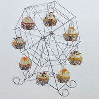 Tahtakale Toptancısı Metal Cupcake Standı Dönme Dolap- Kalplı Kek Standı