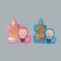 Tahtakale Toptancısı Sticker 3 Yaş Hapy Birthday Mumlu (50 Adet)