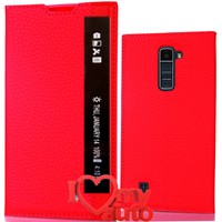 CoverZone Lg Stylus 2 Kılıf Unique Pencereli Deri Kırmızı + 3d Araç Kokusu