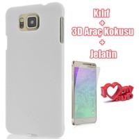 CoverZone Samsung Galaxy Alpha Kılıf Sert Arka Kapak Beyaz + Ekran Jelatin
