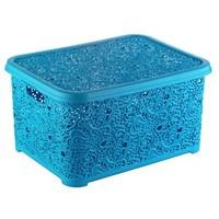 Elif Plastik Sarmaşık Dantelli Sepet Kapaklı Mavi