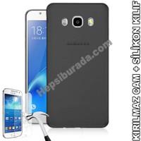 Teknomeg Samsung Galaxy J5 2016 Füme Silikon Kılıf + Temperli Kırılmaz Cam