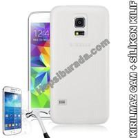 Teknomeg Samsung Galaxy S5 Mini Şeffaf Silikon Kılıf + Temperli Kırılmaz Cam