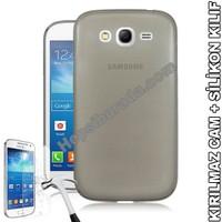 Teknomeg Samsung Galaxy Grand Duos Füme Silikon Kılıf + Temperli Cam
