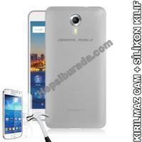 Teknomeg General Mobile Discovery 4G Android One Şeffaf Silikon Kılıf + Temperli Kırılmaz Cam