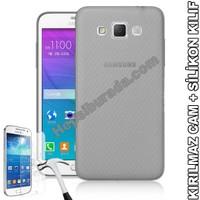 Teknomeg Samsung Galaxy Grand Max Füme Silikon Kılıf + Temperli Cam