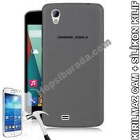 Teknomeg General Mobile Discovery 2 Mini Füme Silikon Kılıf + Temperli Kırılmaz Cam