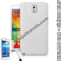 Teknomeg Samsung Galaxy Note 3 Şeffaf Silikon Kılıf + Temperli Kırılmaz Cam