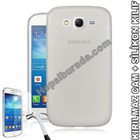 Teknomeg Samsung Galaxy Grand Duos Şeffaf Silikon Kılıf + Temperli Cam