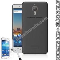 Teknomeg General Mobile Android One Gm5 Plus Füme Silikon Kılıf + Temperli Kırılmaz Cam