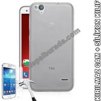 Teknomeg Turkcell T60 Şeffaf Silikon Kılıf + Temperli Kırılmaz Cam
