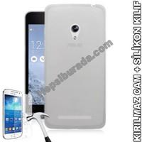 Teknomeg Asus Zenfone 5 Şeffaf Silikon Kılıf + Temperli Kırılmaz Cam