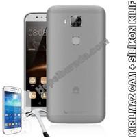 Teknomeg Huawei G8 Şeffaf Silikon Kılıf + Temperli Kırılmaz Cam