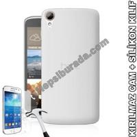 Teknomeg Htc Desire 828 Şeffaf Silikon Kılıf + Temperli Kırılmaz Cam