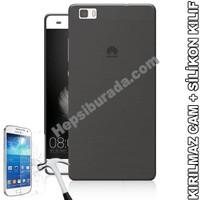 Teknomeg Huawei P8 Lite Füme Silikon Kılıf + Temperli Kırılmaz Cam