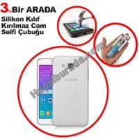 Teknomeg Samsung Galaxy Grand Max Şeffaf Silikon Kılıf + Temperli + Selfie