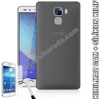 Teknomeg Huawei Honor 7 Füme Silikon Kılıf + Temperli Kırılmaz Cam