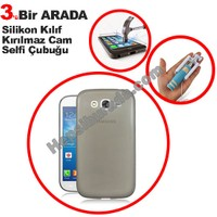 Teknomeg Samsung Galaxy Grand Duos Füme Silikon Kılıf + Temperli + Selfie