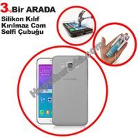 Teknomeg Samsung Galaxy Grand Max Füme Silikon Kılıf + Temperli Kırılmaz Cam + Selfie