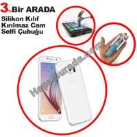 Teknomeg Samsung Galaxy S6 Şeffaf Silikon Kılıf + Temperli + Selfie