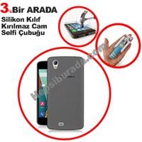 Teknomeg General Mobile Discovery 2 Mini Füme Silikon Kılıf + Temperli Kırılmaz Cam + Selfie