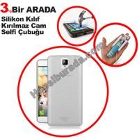Teknomeg General Mobile Discovery 2 Şeffaf Silikon Kılıf + Temperli + Selfie