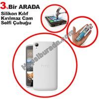 Teknomeg Htc Desire 828 Şeffaf Silikon Kılıf + Temperli Kırılmaz Cam + Selfie
