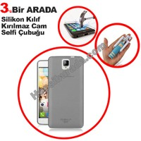 Teknomeg General Mobile Discovery 2 Plus Füme Silikon Kılıf + Temperli + Selfie